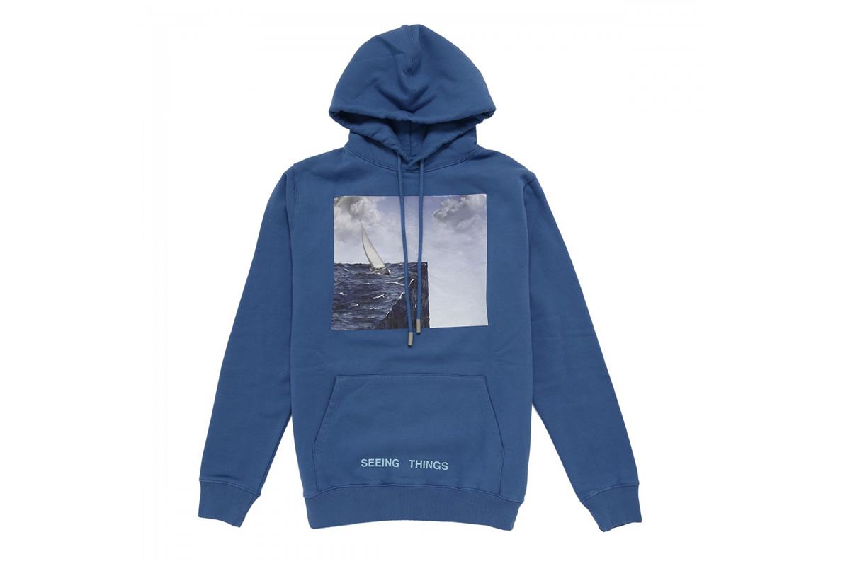 off white sea print blue hooded sweatshirt